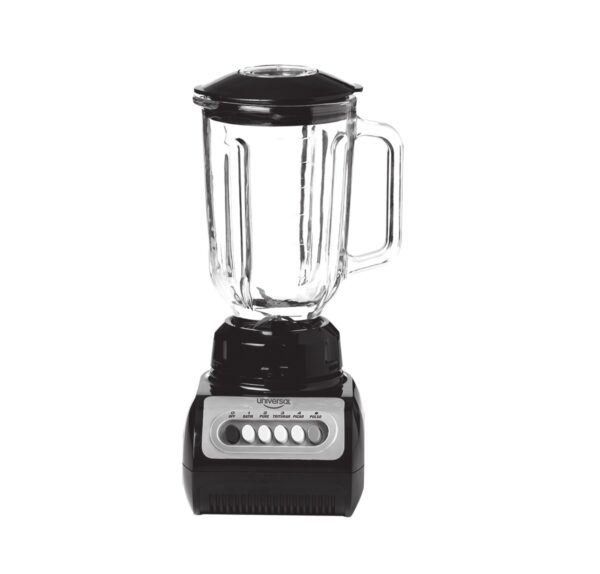 Licuadora negra vaso vidrio.