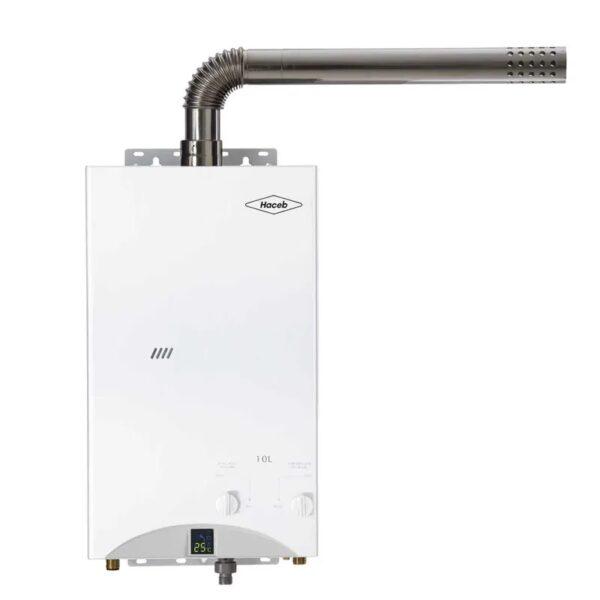 Calentador de agua 10 litros Haceb de paso a gas natural tiro forzado blanco