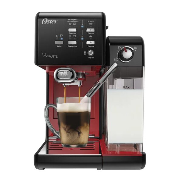 Cafetera automática PrimaLatte -19 bares negro y rojo.