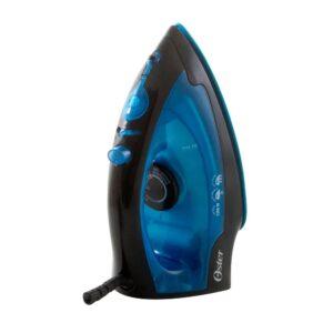 Plancha de vapor con base antiadherente azul.